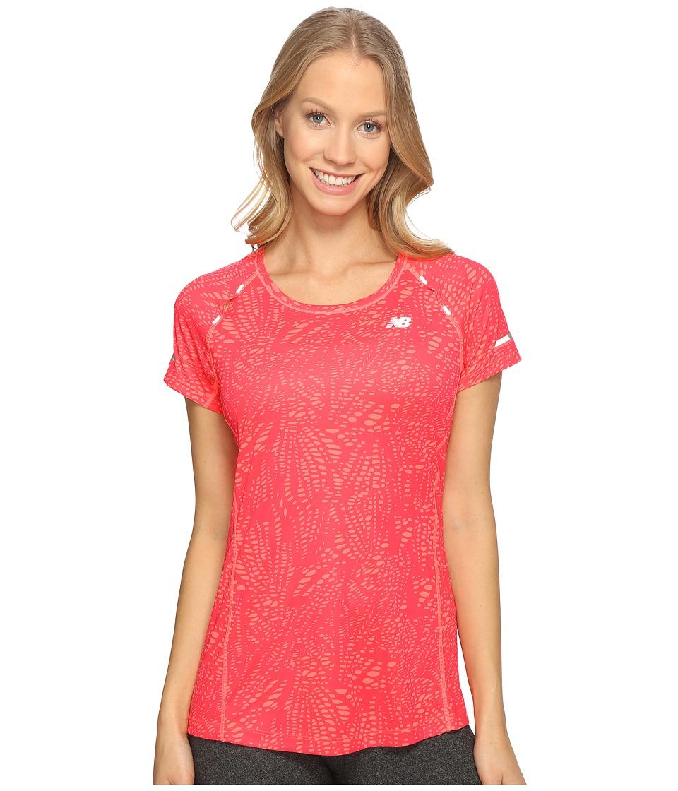 New Balance - NB Ice Short Sleeve Shirt (Guava Print) Women's Short Sleeve Pullover