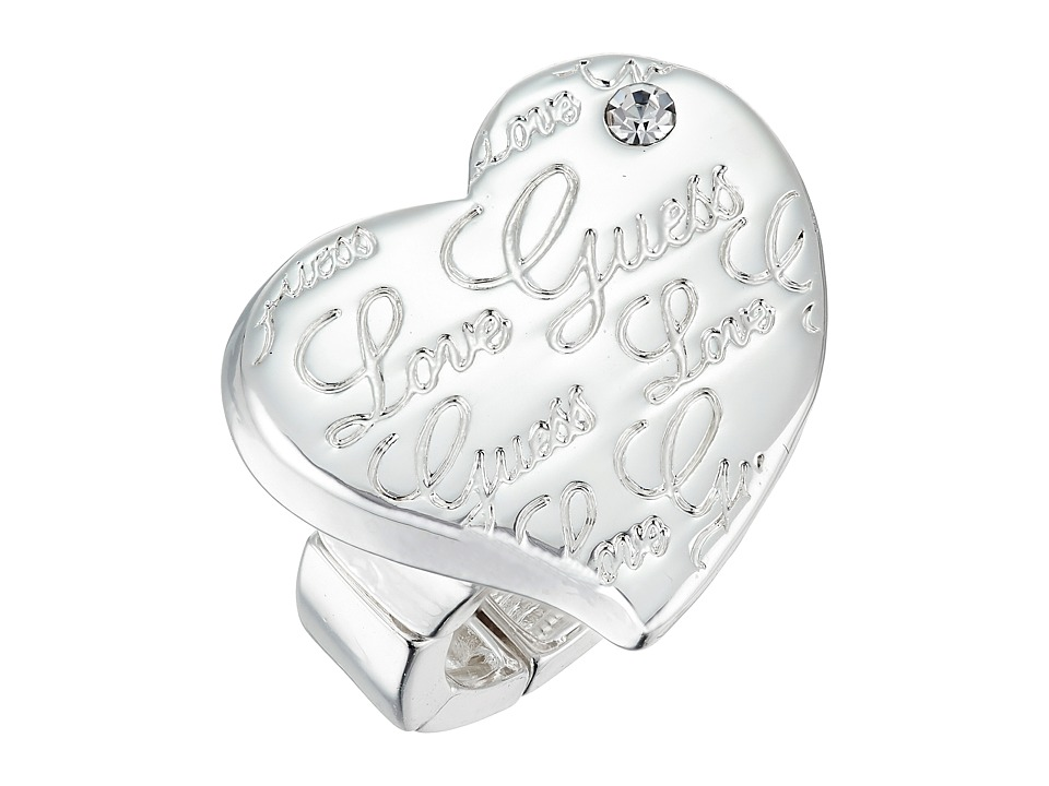 GUESS - Script Logo Heart Stretch Ring (Silver/Crystal) Ring
