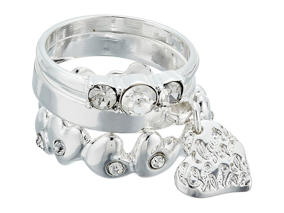 GUESS - 3 Piece Ring Set with Charm Drop (Silver/Crystal) Ring