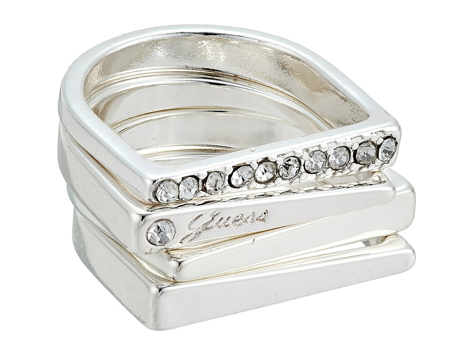 GUESS - 4 Piece Flat Top Bands Ring Set (Silver/Crystal) Ring