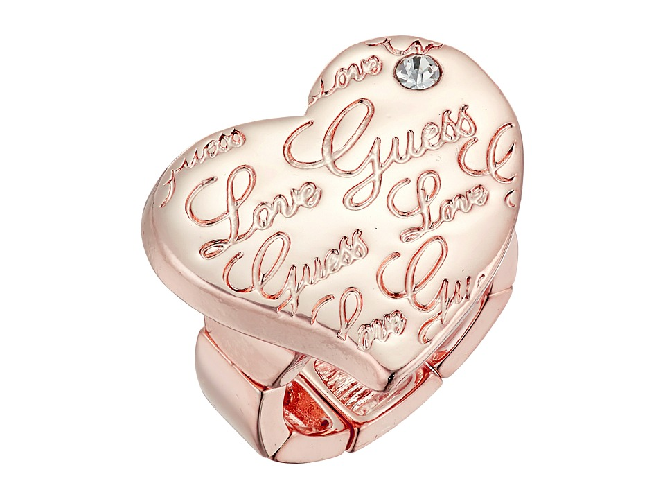 GUESS - Script Logo Heart Stretch Ring (Gold) Ring