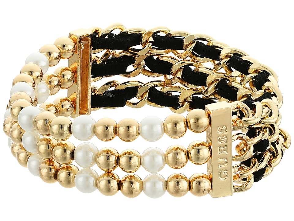 GUESS - Three Row 1/2 Bead Stretch and 1/2 Woven Chain Stretch Bracelet (Gold/White/Jet) Bracelet