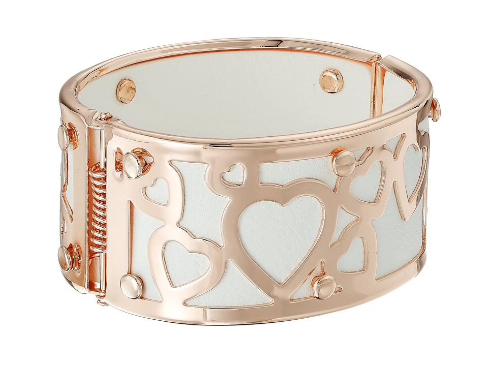 GUESS - Wide Bangle with Hearts Overlay (Rose Gold/Crystal) Bracelet