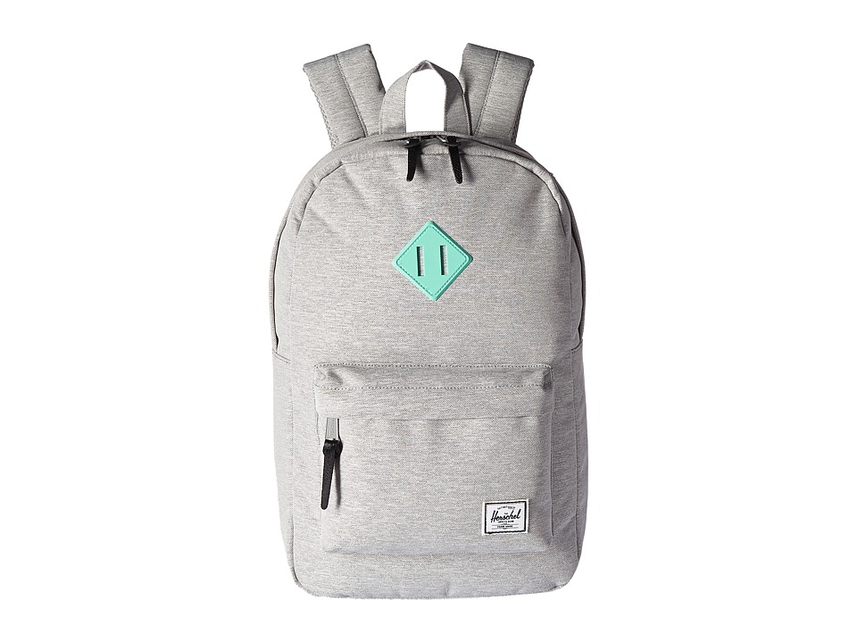 Herschel Supply Co. - Heritage Mid-Volume (Light Grey Crosshatch/Lucite Green Rubber) Backpack Bags