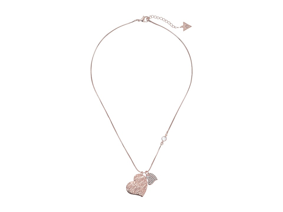 GUESS - Double Heart Charm on Snake Chain Pendant Necklace (Rose Gold/Crystal) Necklace