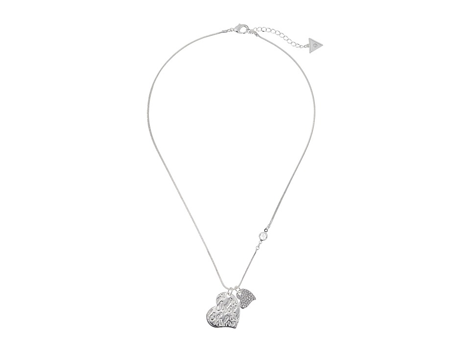 GUESS - Double Heart Charm on Snake Chain Pendant Necklace (Shiny Silver/Crystal) Necklace