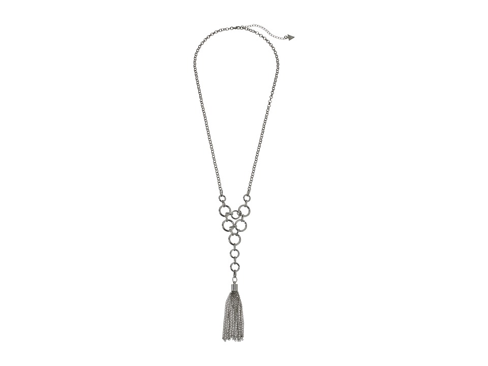 GUESS - Linked Rings Y Necklace (Silver) Necklace