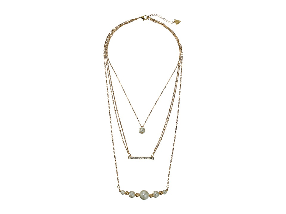 GUESS - Three Row Necklace (Gold/White/Crystal) Necklace