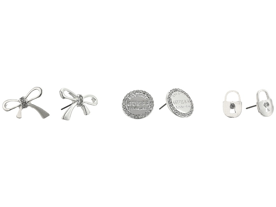GUESS - Lock Bow and Logo Button Trio Stud Set Earrings (Shiny Silver/Crystal) Earring