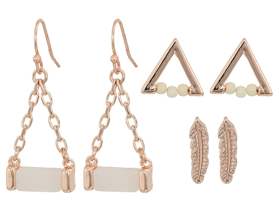 GUESS - Mini Feather Triangle and Drop Trio Set Earrings (Rose Gold/Off-White) Earring