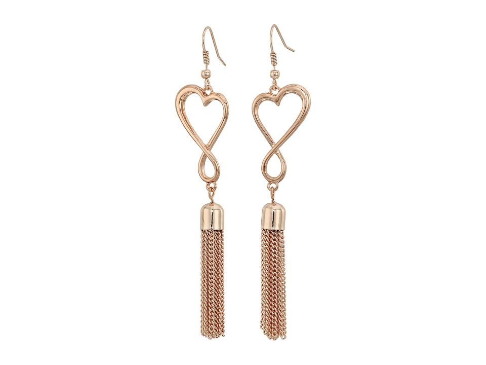 GUESS - Open Heart with Tassel Drop on Wire Earrings (Rose Gold/Crystal) Earring