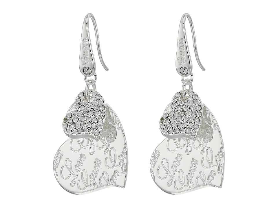GUESS - Double Heart with Logo Drop Earrings (Shiny Silver/Crystal) Earring