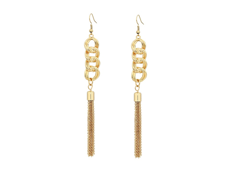 GUESS - Chain Drop with Tassel Earrings (Gold) Earring