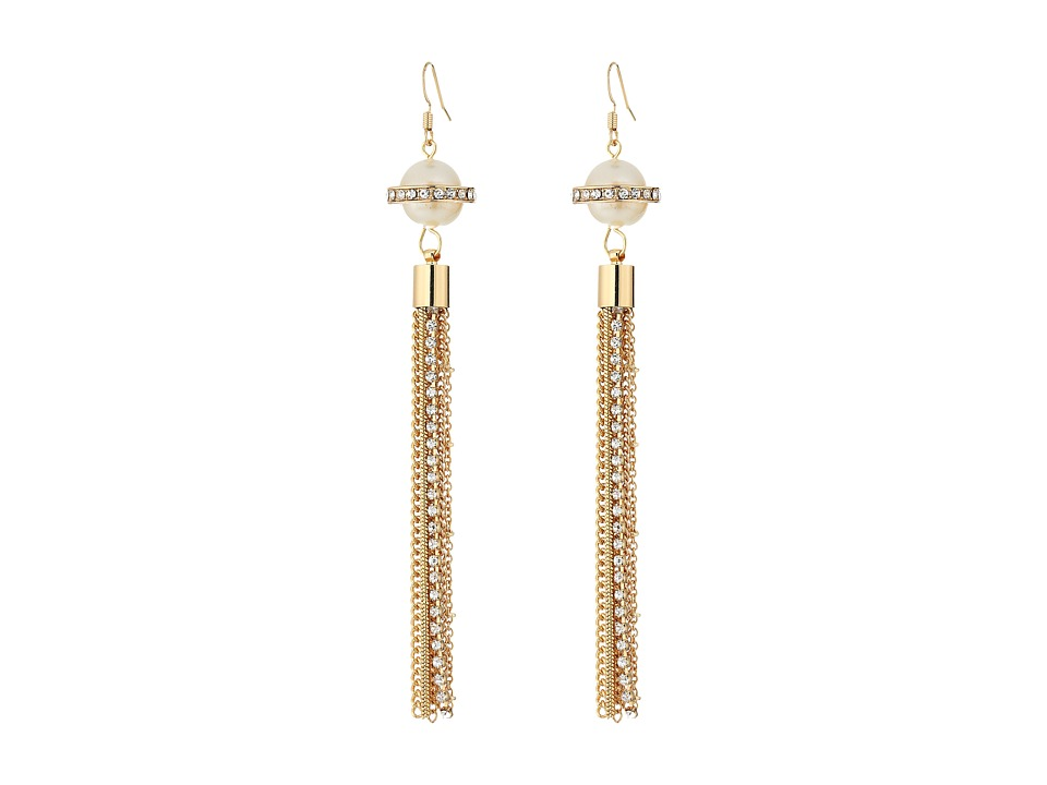 GUESS - Pearl with Tassle Wire Drop Earrings (Gold/Crystal) Earring