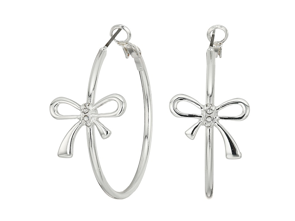 GUESS - Bow Hoop Earrings (Shiny Silver/Crystal) Earring