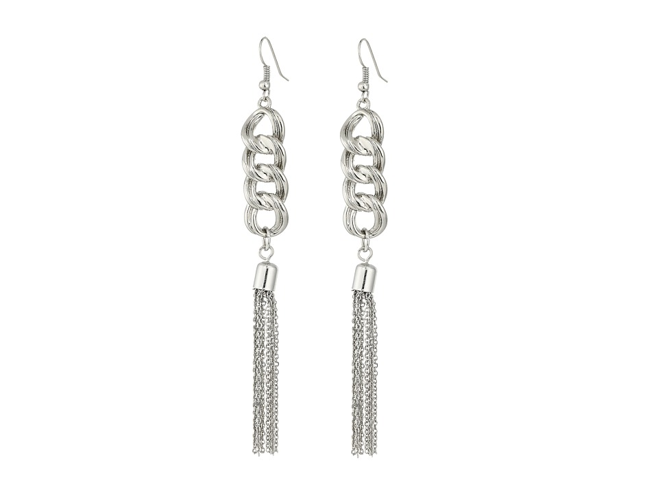 GUESS - Chain Drop with Tassel Earrings (Silver) Earring