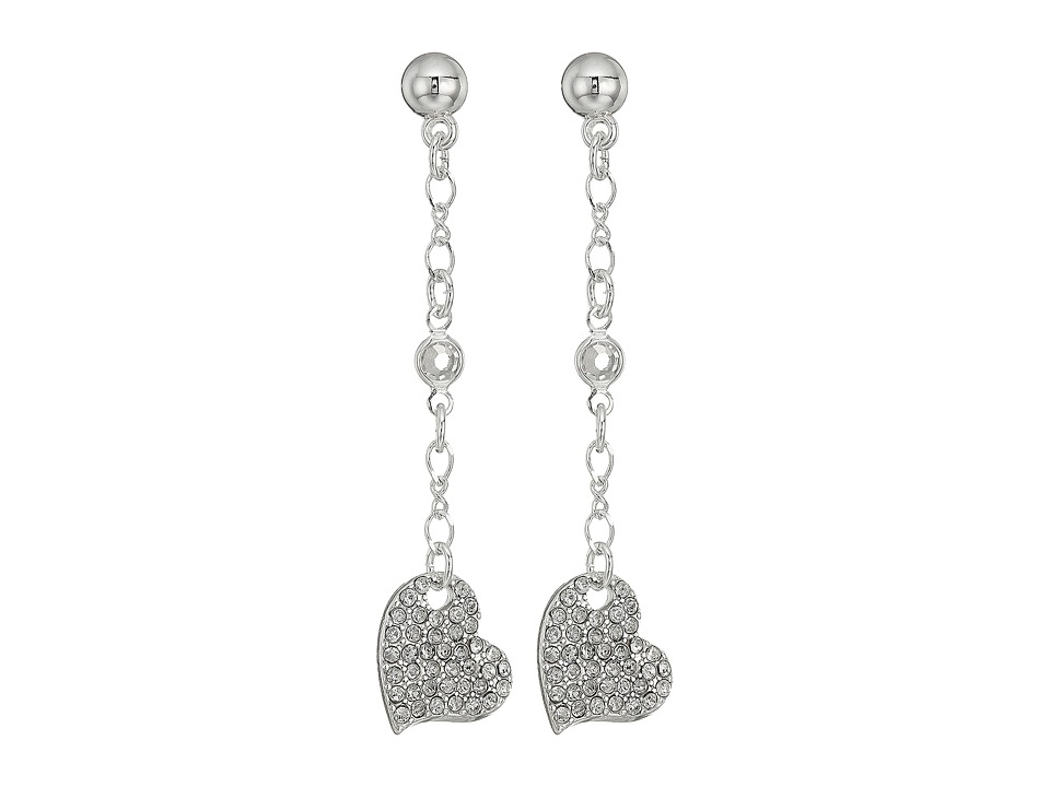 GUESS - Pave Heart Linear Earrings (Shiny Silver/Crystal) Earring