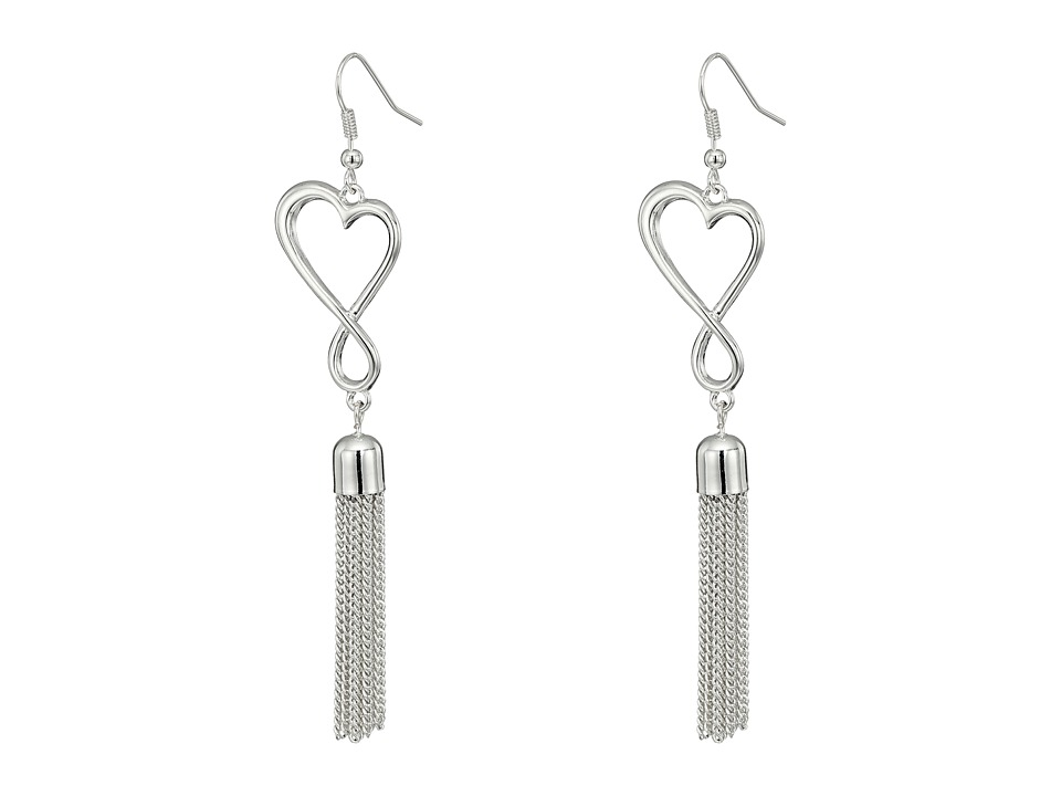 GUESS - Open Heart with Tassel Drop on Wire Earrings (Shiny Silver/Crystal) Earring