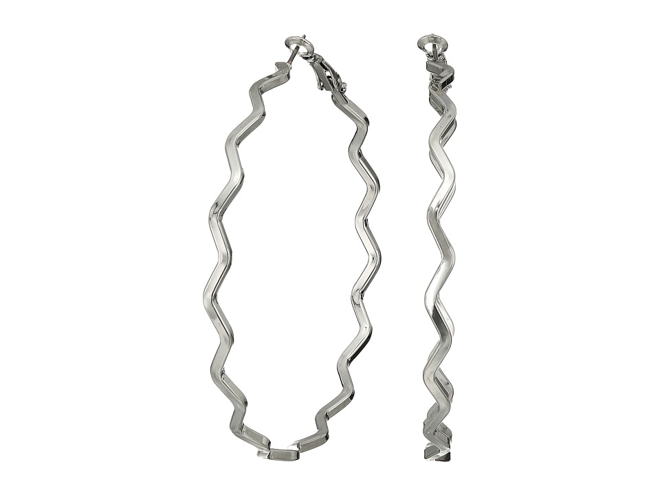 GUESS - Zigzag Clutchless Hoop Earrings (Silver) Earring