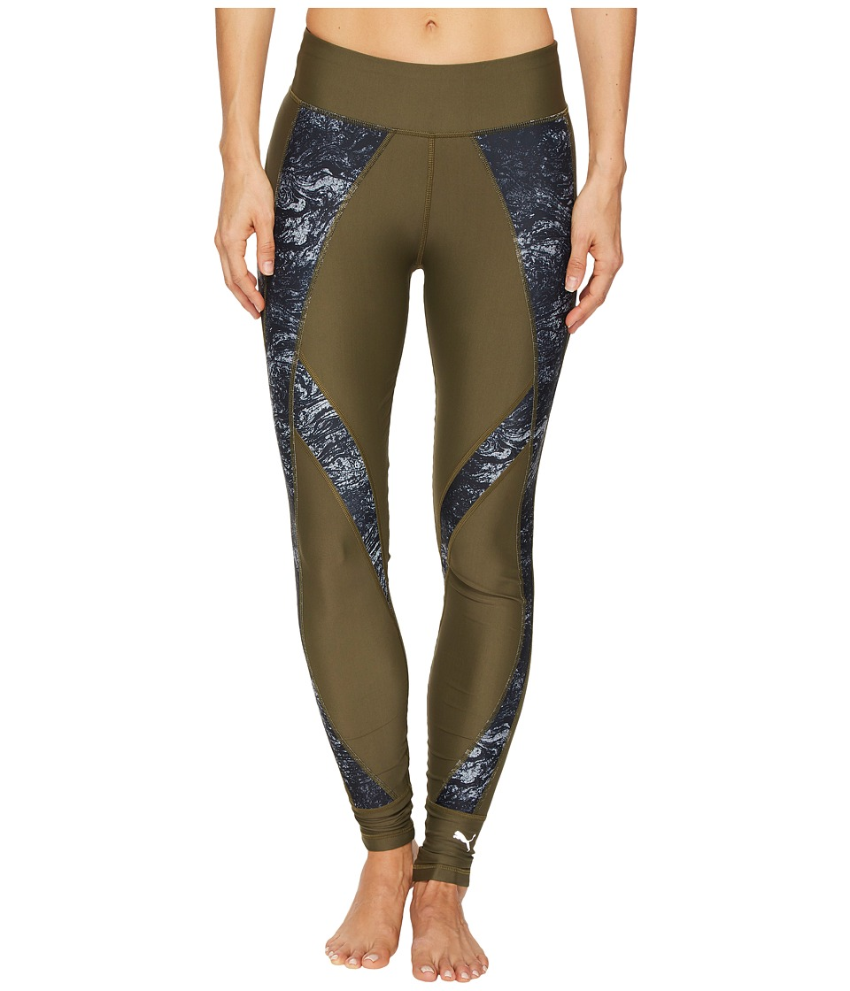 PUMA - Explosive Tights (Olive Night/Nature Print) Women's Workout