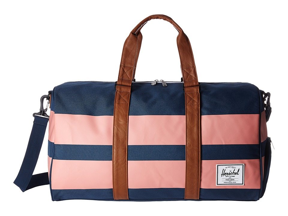 Herschel Supply Co. - Novel (Navy/Strawberry Ice Rugby Stripe/Tan Synthetic Leather) Duffel Bags