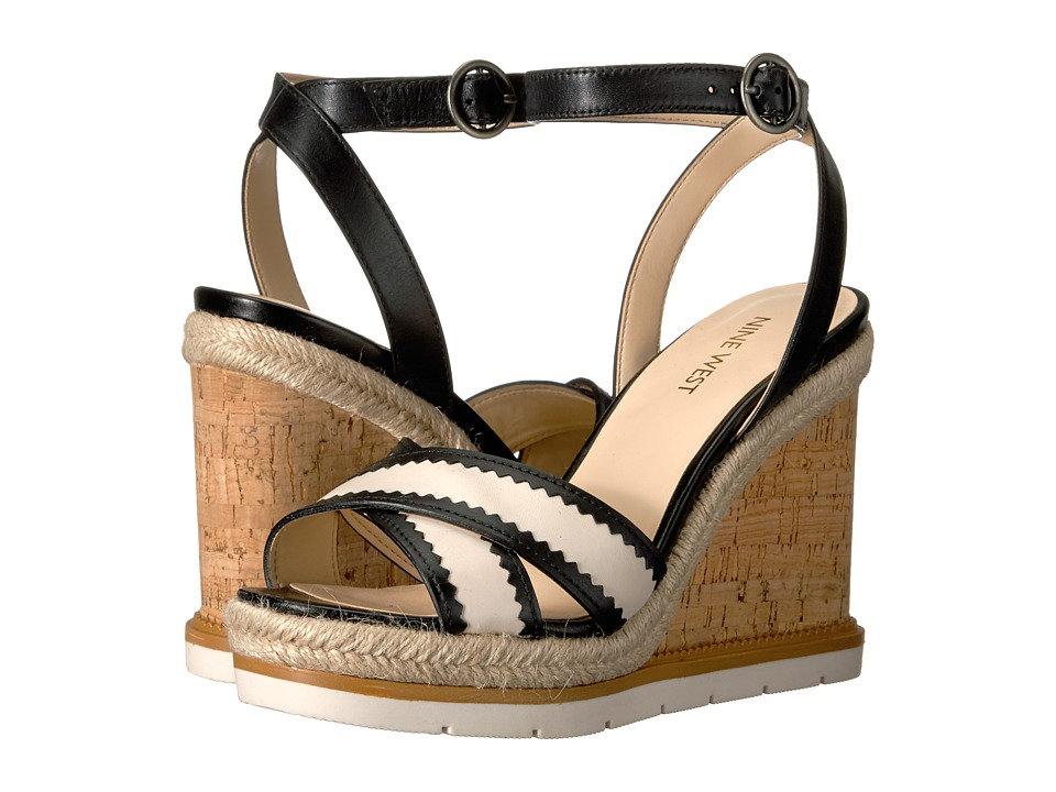 Nine West - Vaughn (Black/Off-White Leather) Women's Wedge Shoes