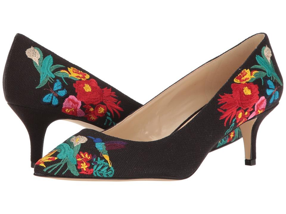 Nine West - Xeena (Black Multi Canvas) Women's 1-2 inch heel Shoes
