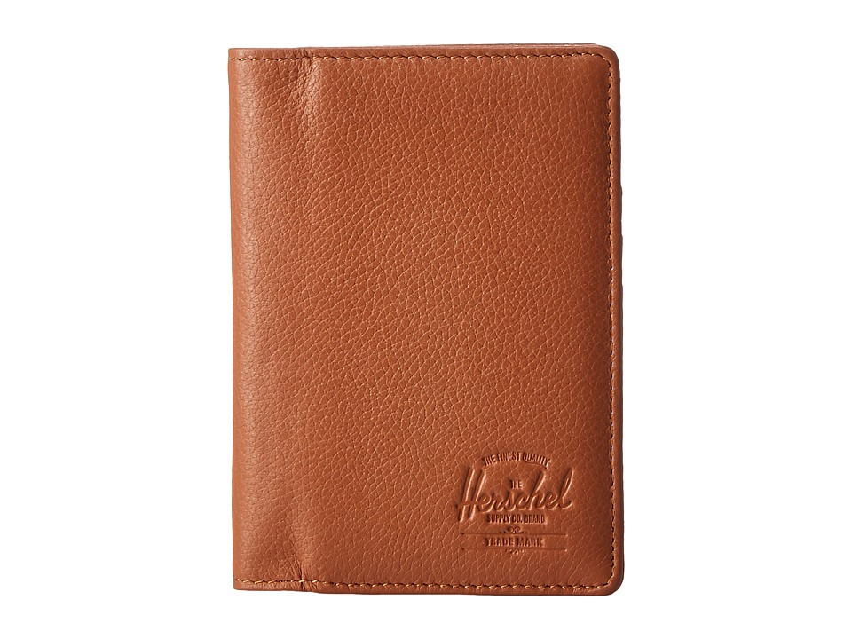 Herschel Supply Co. - Raynor Passport Holder Leather RFID (Tan Pebbled Leather) Wallet Handbags