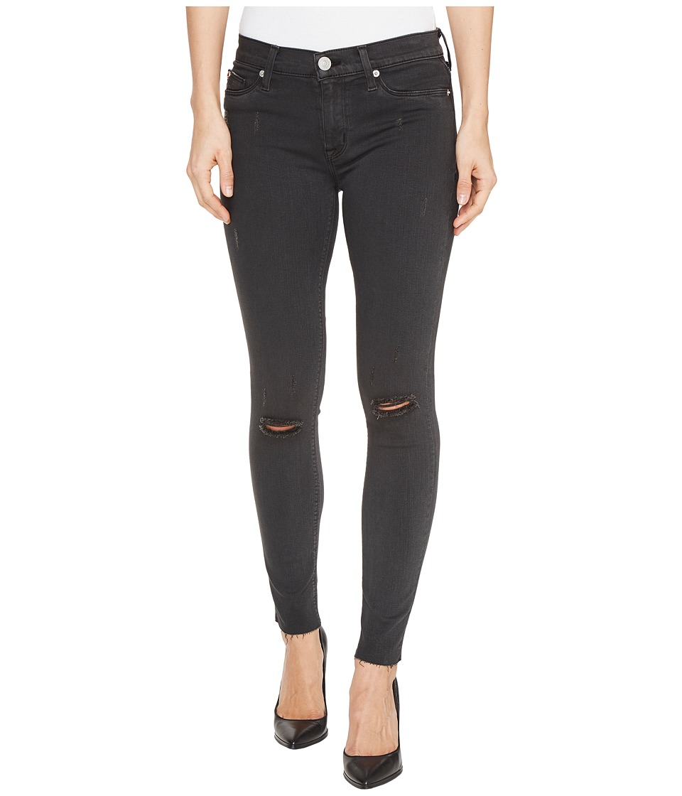 Hudson - Nico Mid-Rise Ankle Raw Hem Super Skinny Five-Pocket Jeans in Blackened Charcoal (Blackened Charcoal) Women's Jeans