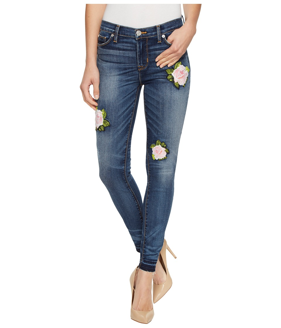 Hudson - Nico Mid-Rise Ankle Super Skinny with Released Hem Five-Pocket Jeans with Rose Applique in Social Scene (Social Scene) Women's Jeans