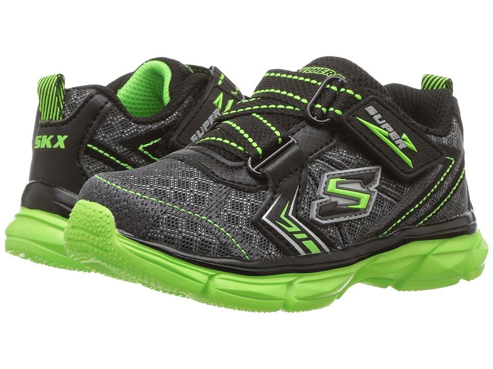 SKECHERS KIDS Advance Super Z Sneaker (Toddler) (Charcoal/Black/Lime) Boy