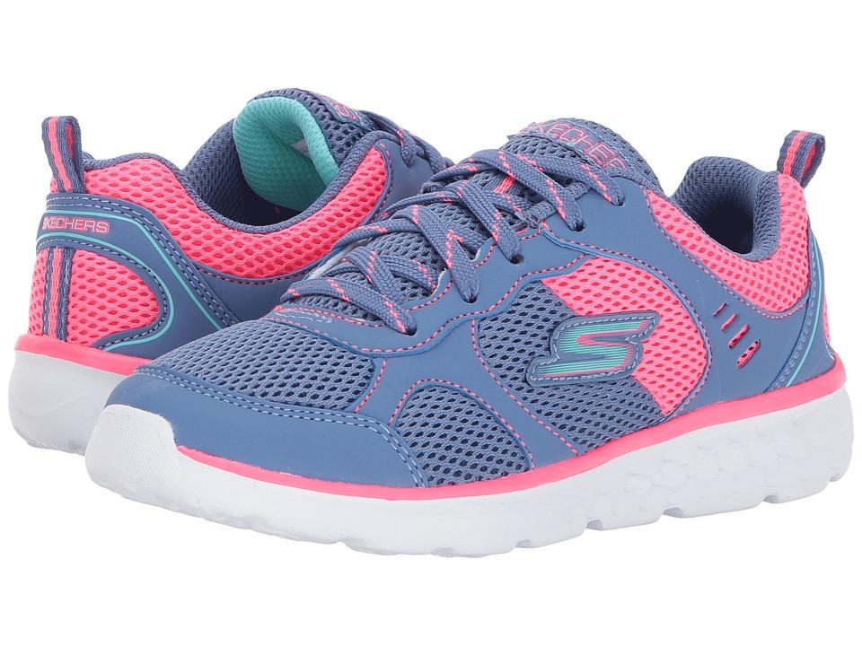 SKECHERS KIDS - Pep Kicks Lace-Up (Little Kid/Big Kid) (Blue/Neon Pink) Girl's Shoes