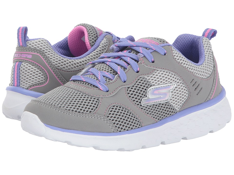 SKECHERS KIDS - Pep Kicks Lace-Up (Little Kid/Big Kid) (Gray/Lavender) Girl's Shoes