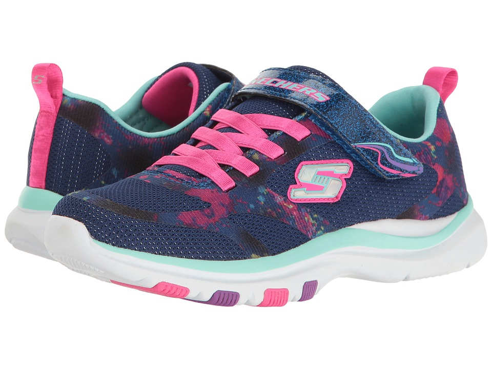 SKECHERS KIDS - Trainer Lite (Little Kid/Big Kid) (Navy/Multi) Girl's Shoes