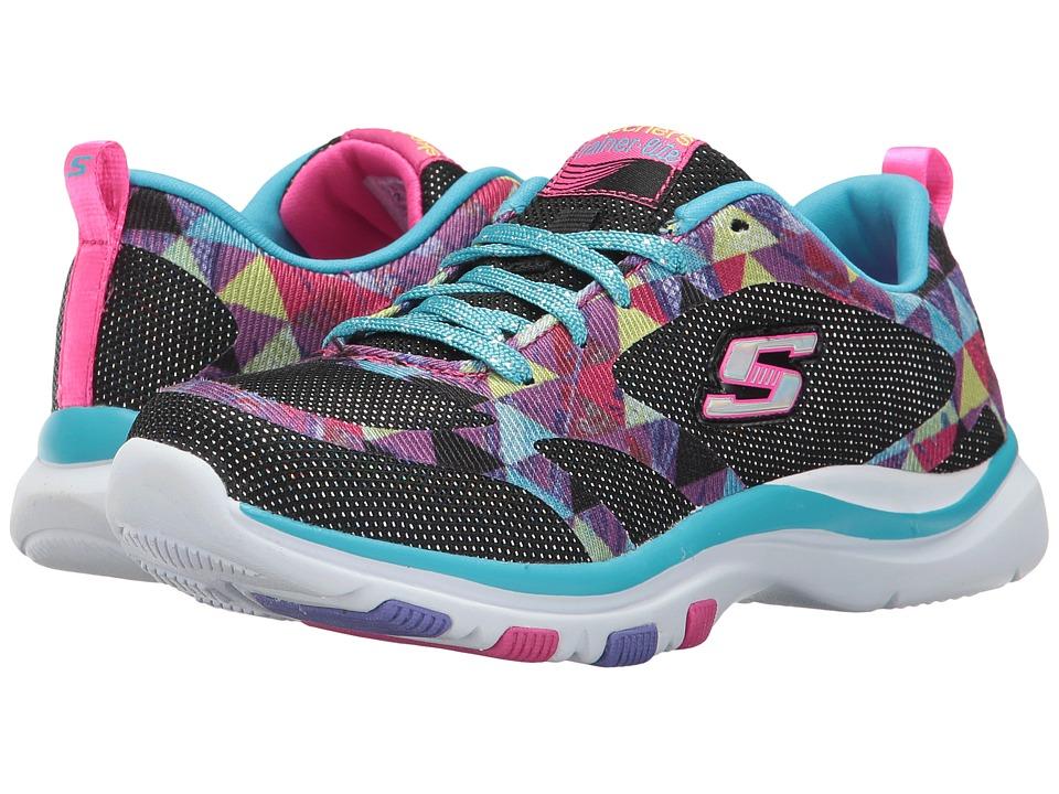 SKECHERS KIDS - Trainer Lite Lace-Up (Little Kid/Big Kid) (Black/Multi) Girl's Shoes