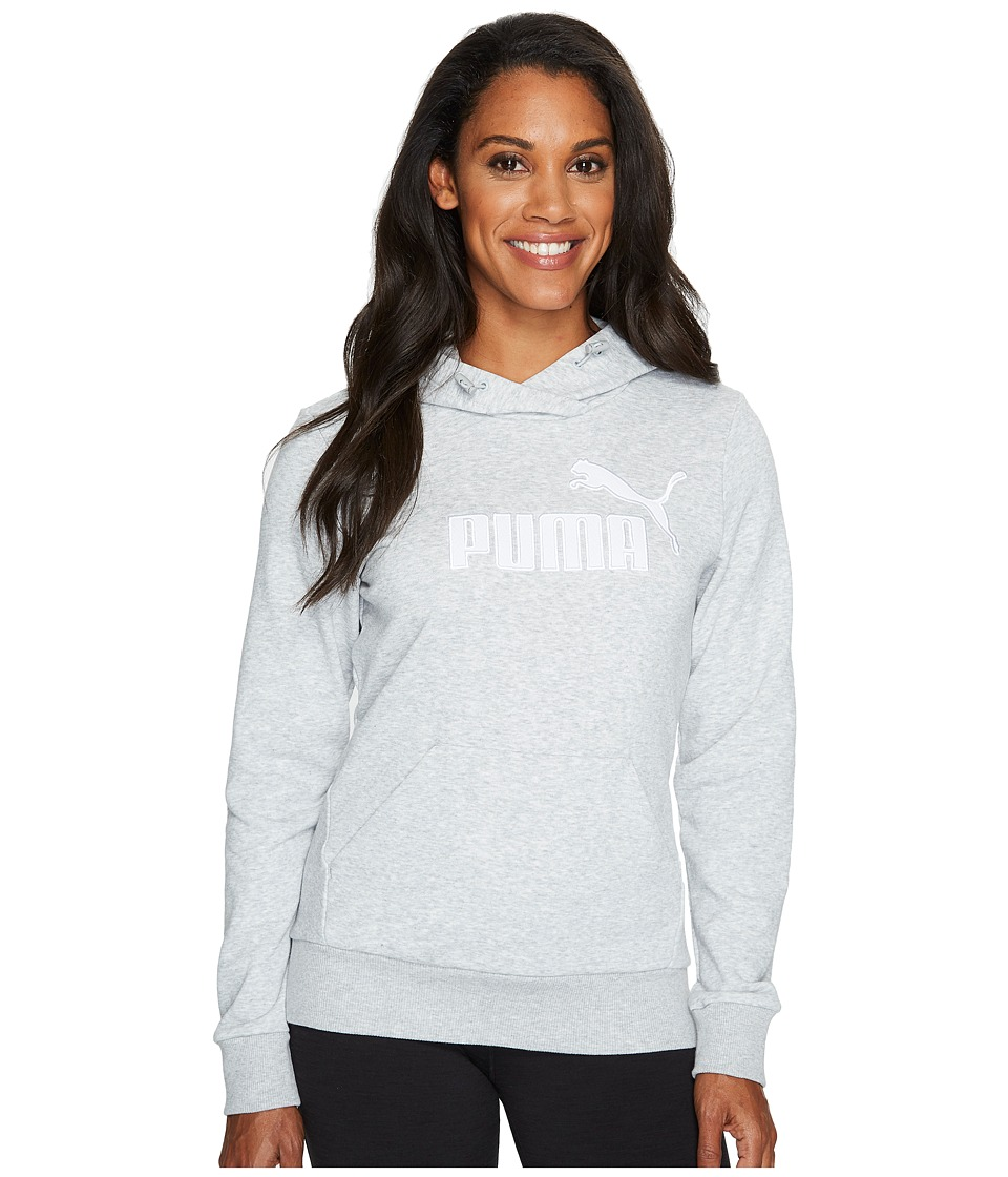 PUMA - Elevated Logo Hoodie (Light Gray Heather 1) Women's Sweatshirt
