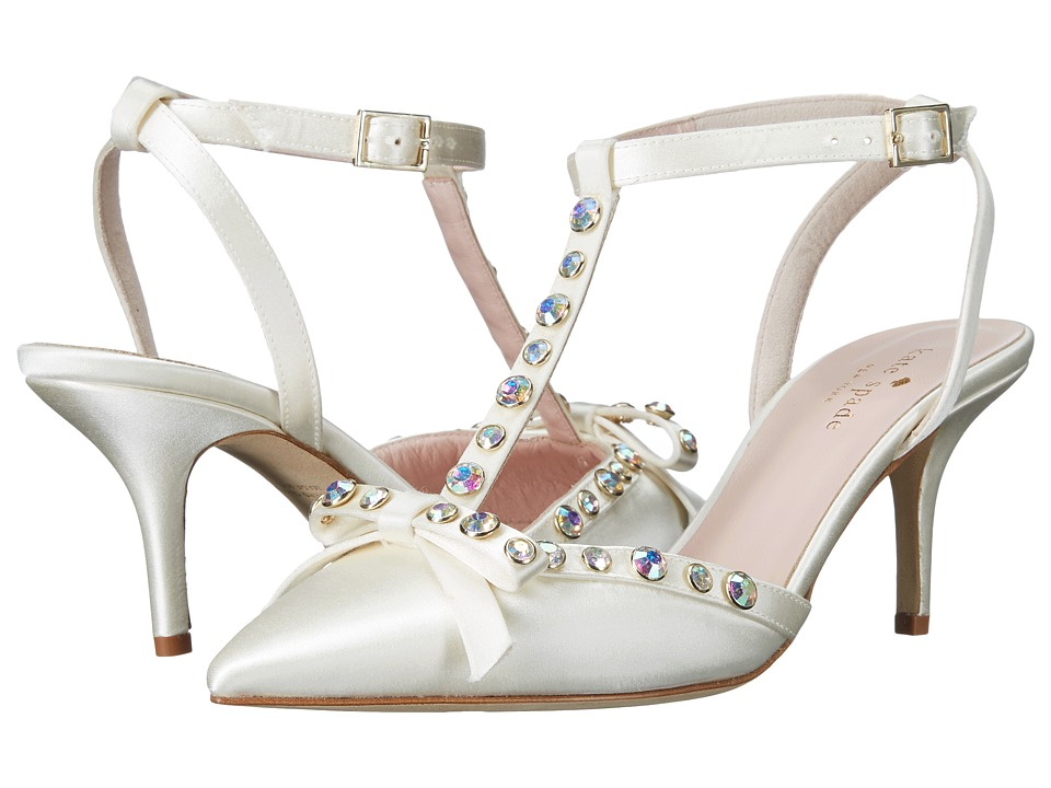 Kate Spade New York - Julianna (Ivory Satin/Aurora Borealis Stones) Women's Flat Shoes