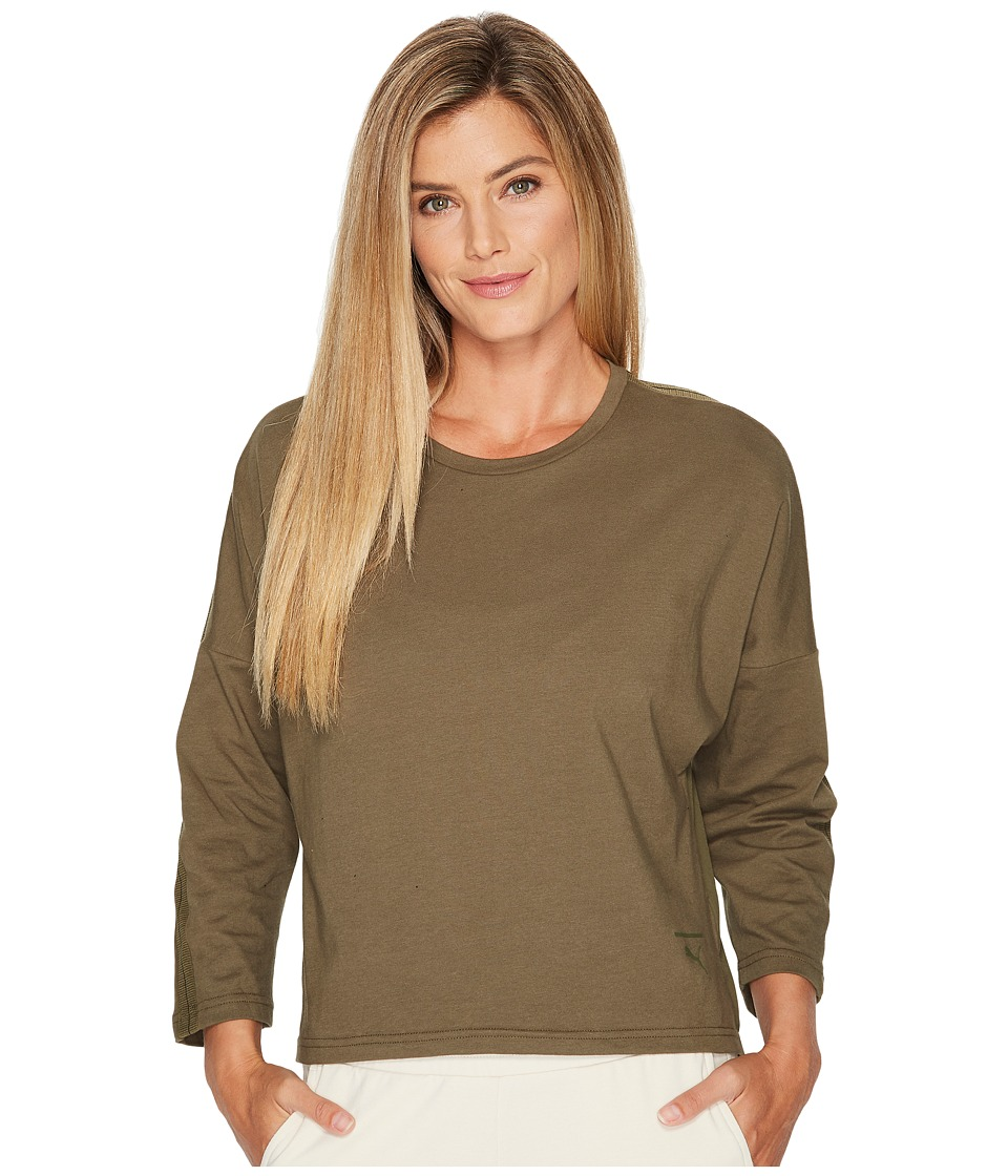 PUMA - Tape Long Sleeve Top (Olive Night) Women's Long Sleeve Pullover