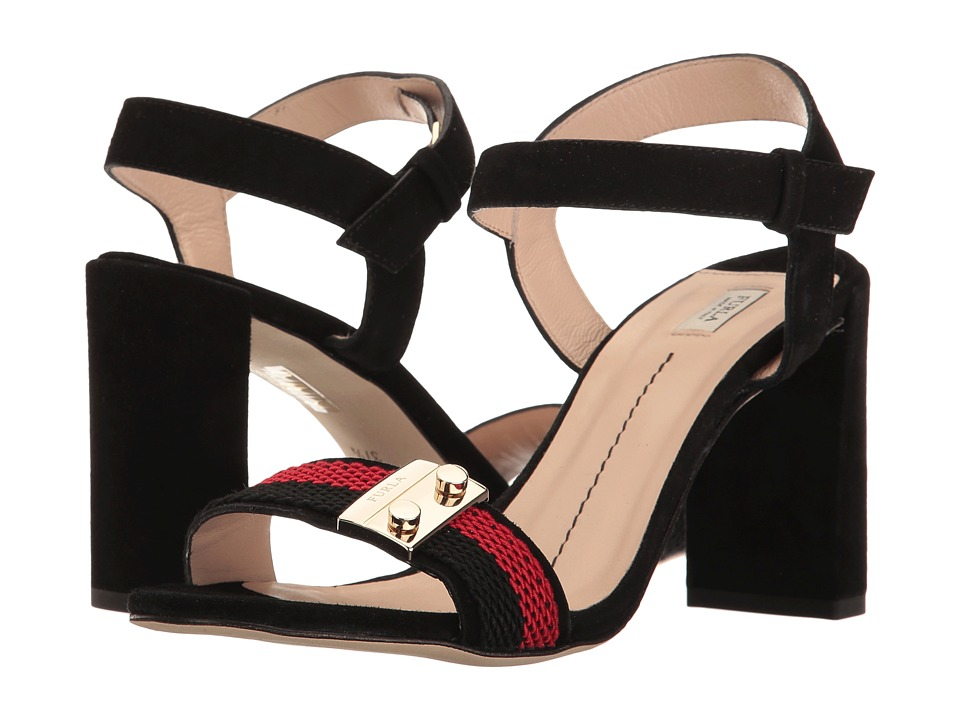 Furla Metropolis Sandals T.85 (Onyx/Ruby Suede/Tessuto Vergolino) High Heels