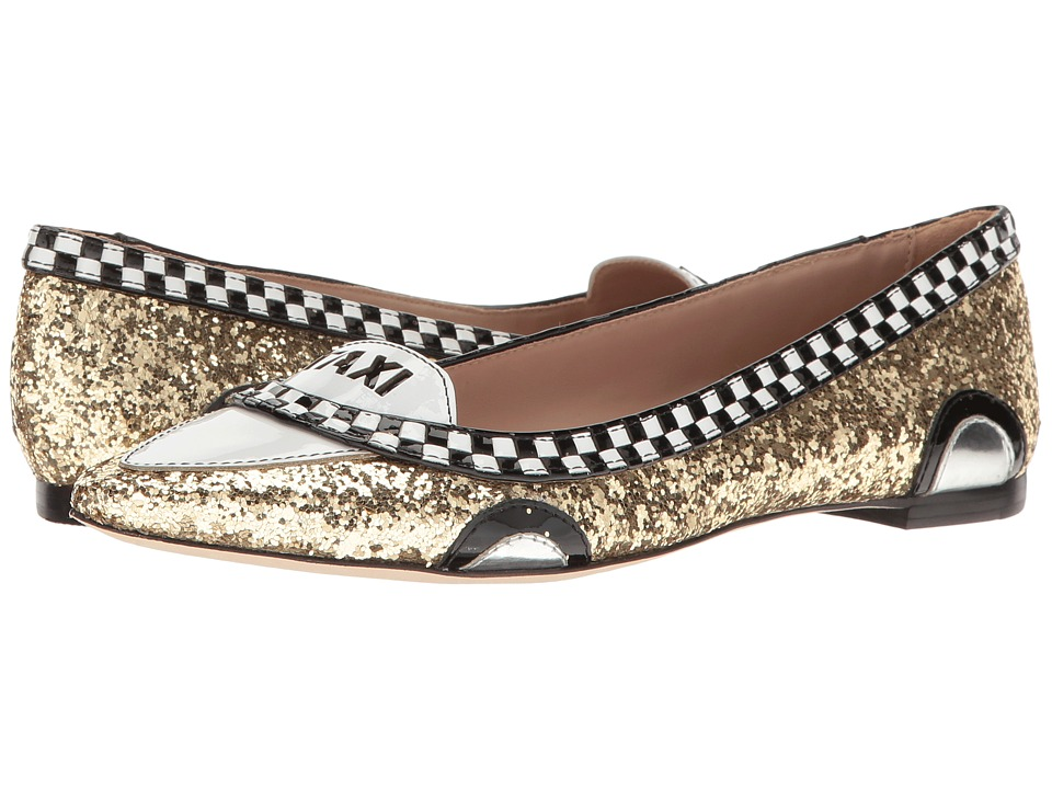 Kate Spade New York - Go (Gold Glitter/Black/White Patent) Women's Flat Shoes