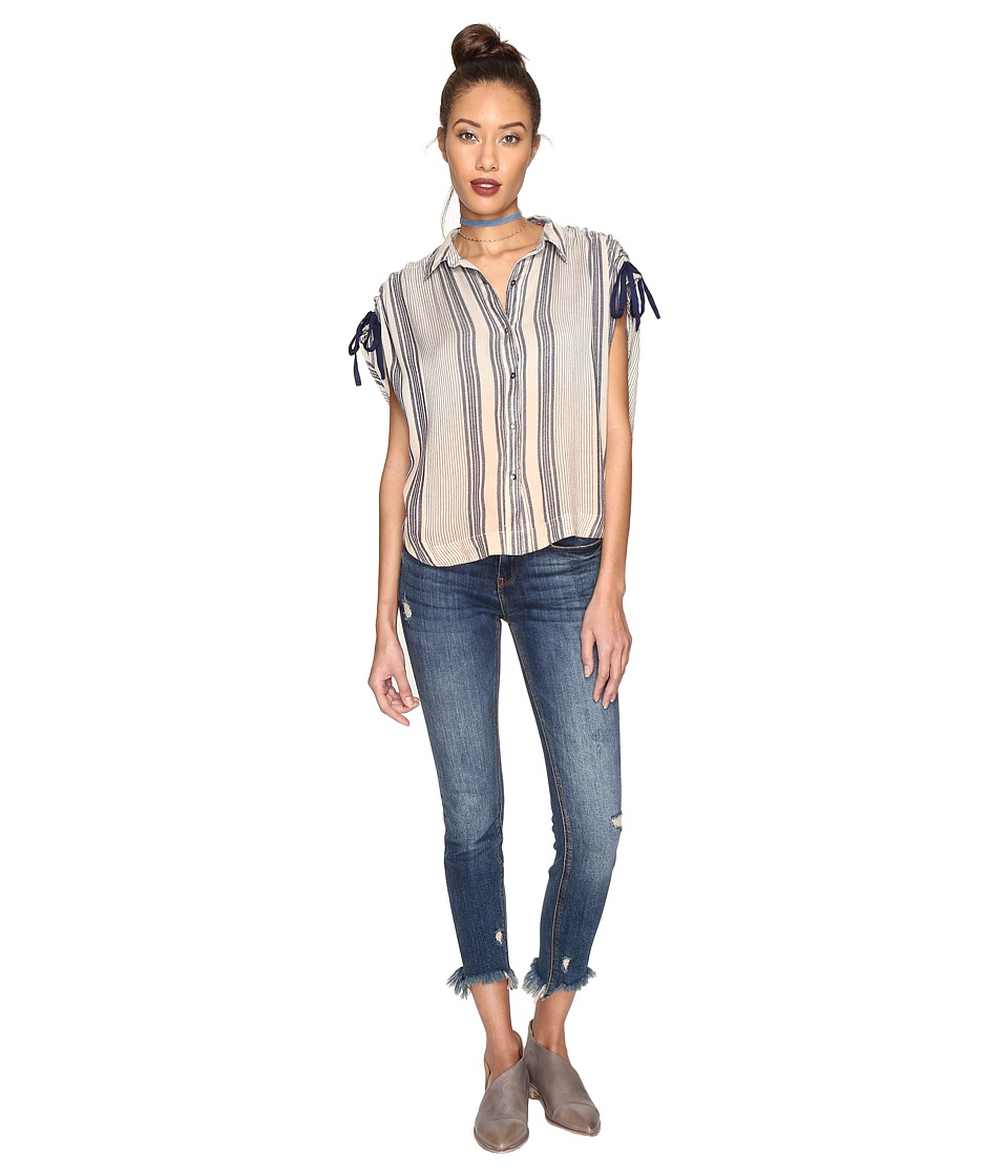 Free People - Baby Blues Button Down (Blue) Women's Short Sleeve Button Up