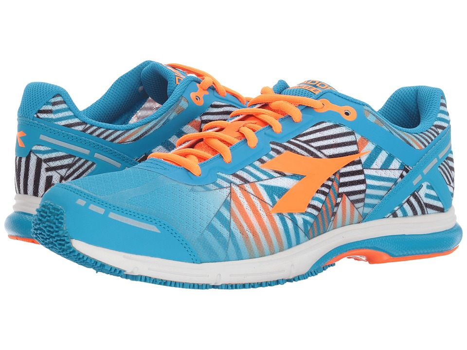 Diadora - Mythos Racer Evo 2 (Fluo Cyan Blue/Fluo Orange) Athletic Shoes
