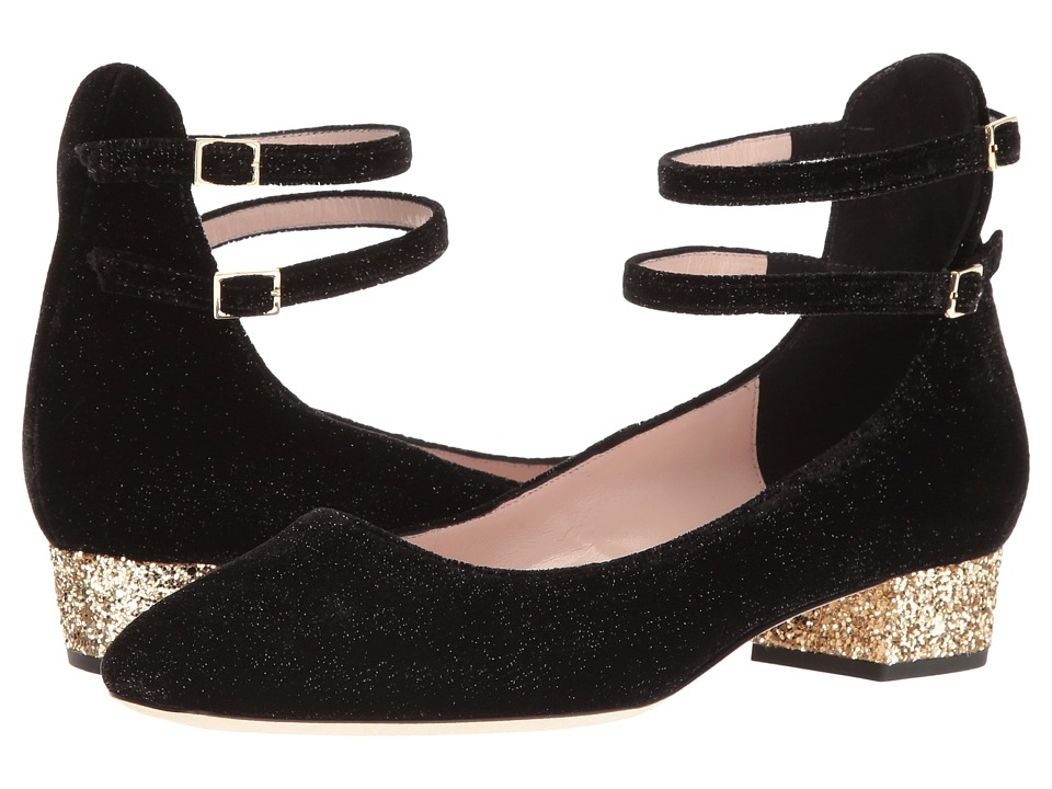 Kate Spade New York - Marcelina (Black Star Velvet/Gold Glitter Heel) Women's Shoes