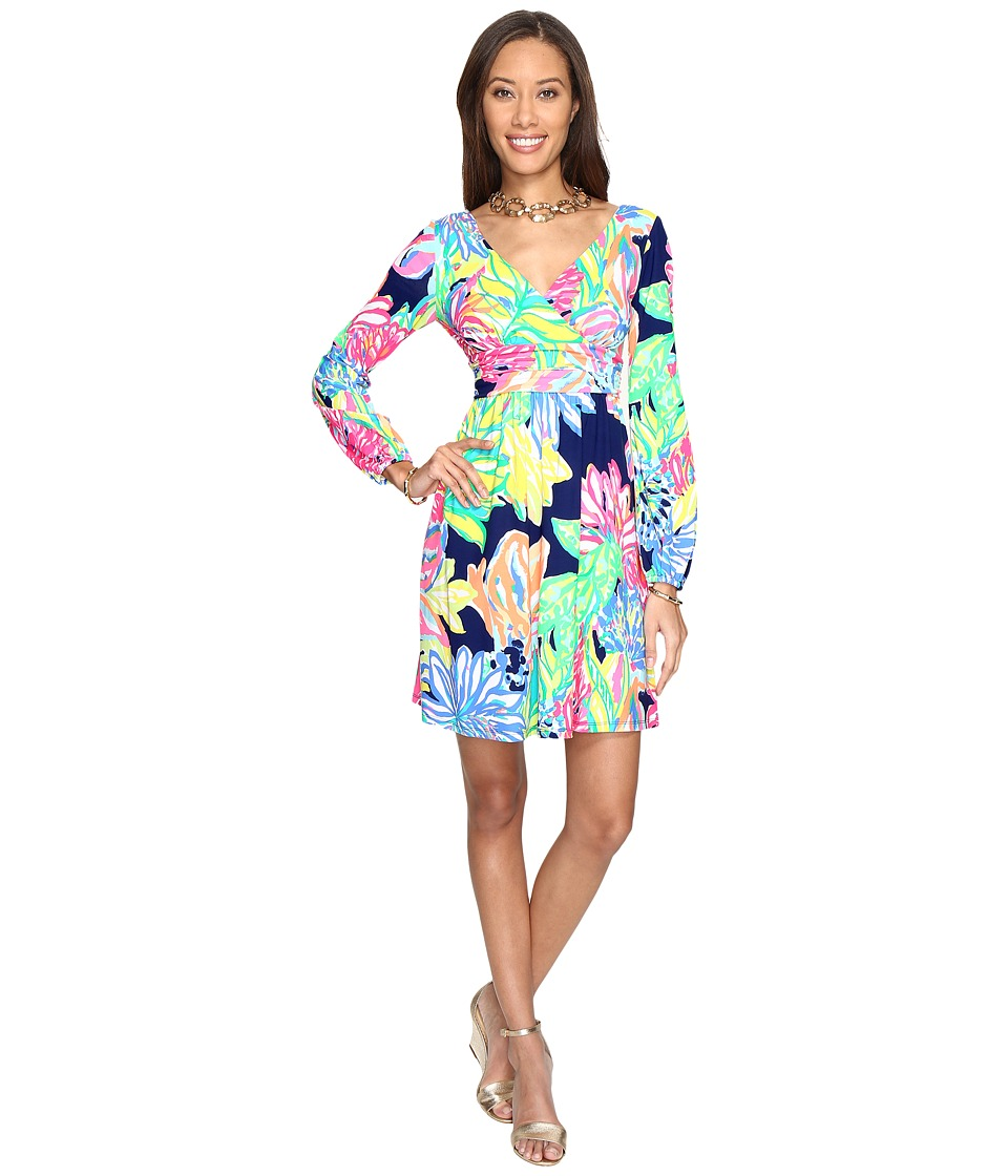 Lilly Pulitzer - Fleur Dress (Resort Navy Travelers Palm) Women's Dress