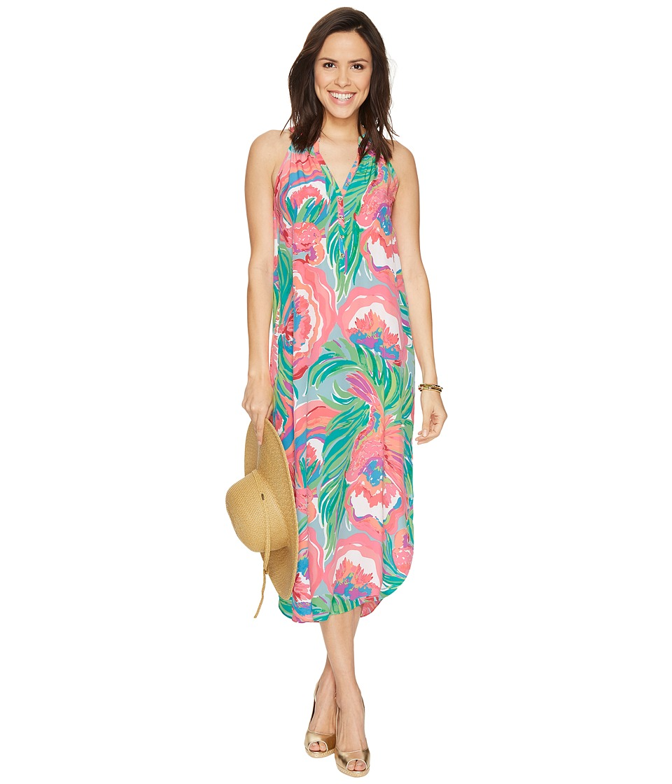 Lilly Pulitzer - Bailey Silk Midi Dress (Serene Blue Paradise Bound) Women's Dress
