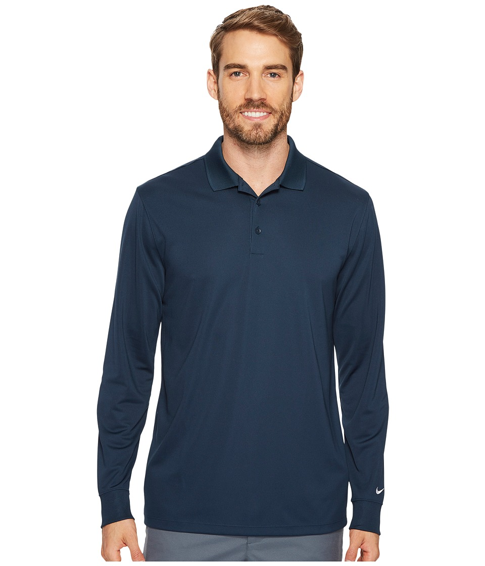 Nike Golf Victory Long Sleeve Polo (Armory Navy/White) Men