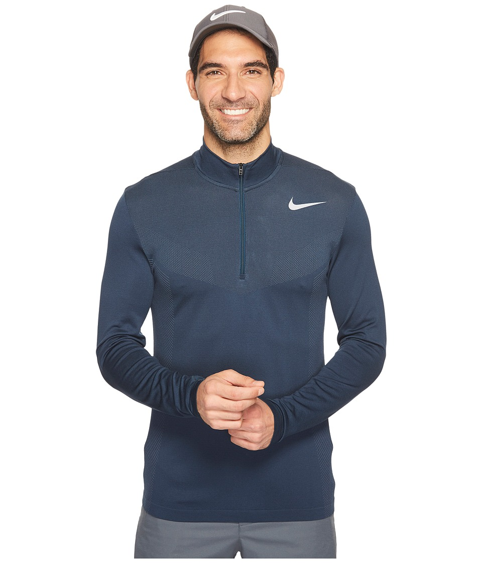 Nike Golf - Dri-FIT Knit 1/2 Zip (Armory Navy/Armory Blue/Flat Silver) Men's Long Sleeve Pullover