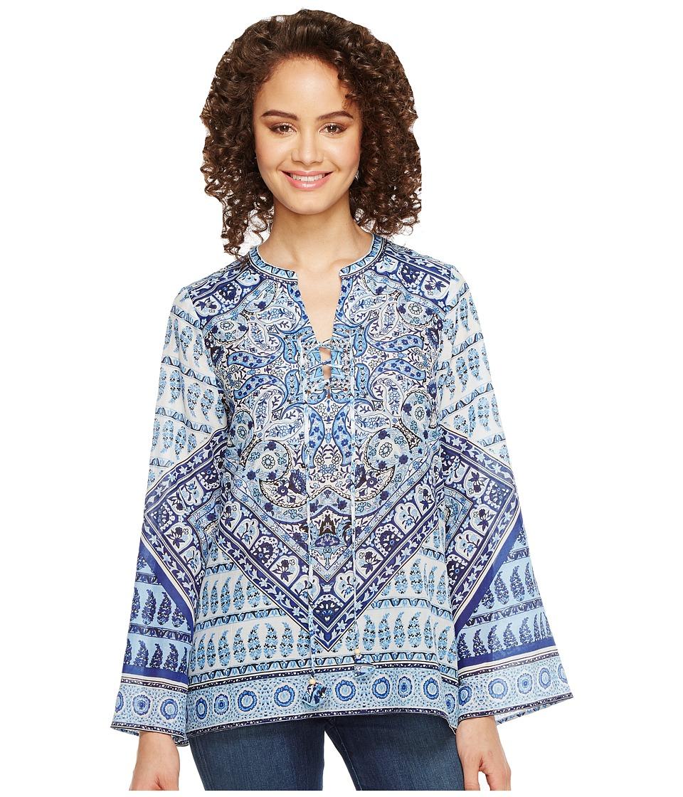 Hale Bob - Beach Belle Silk/Cotton Voile Lace-Up Top (Navy) Women's Clothing
