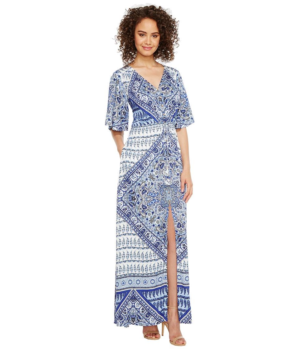 Hale Bob Beach Belle Rayon Stretch Satin Woven Maxi Dress (Navy) Women