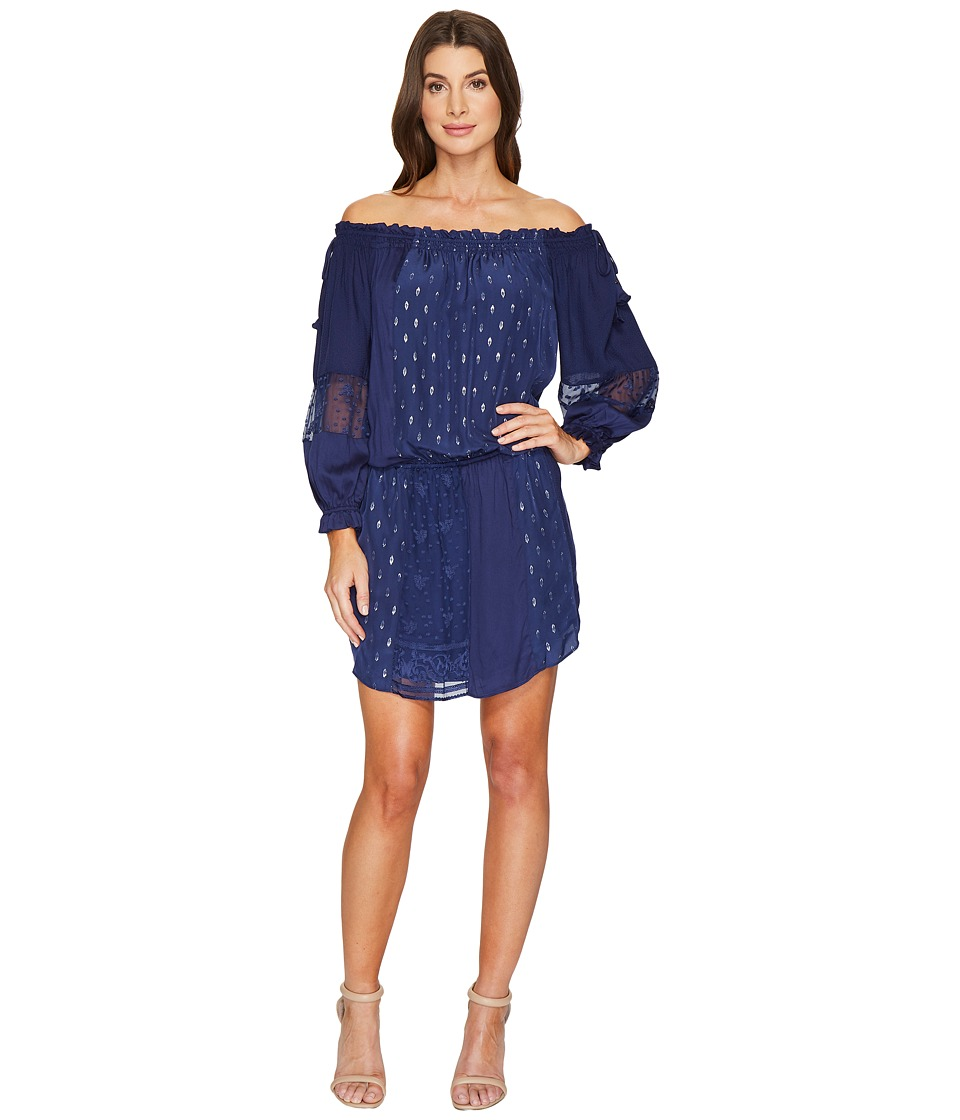 Hale Bob Sheer Genius Mix Rayon Satin/Silk Lurex Dot Dress (Navy) Women
